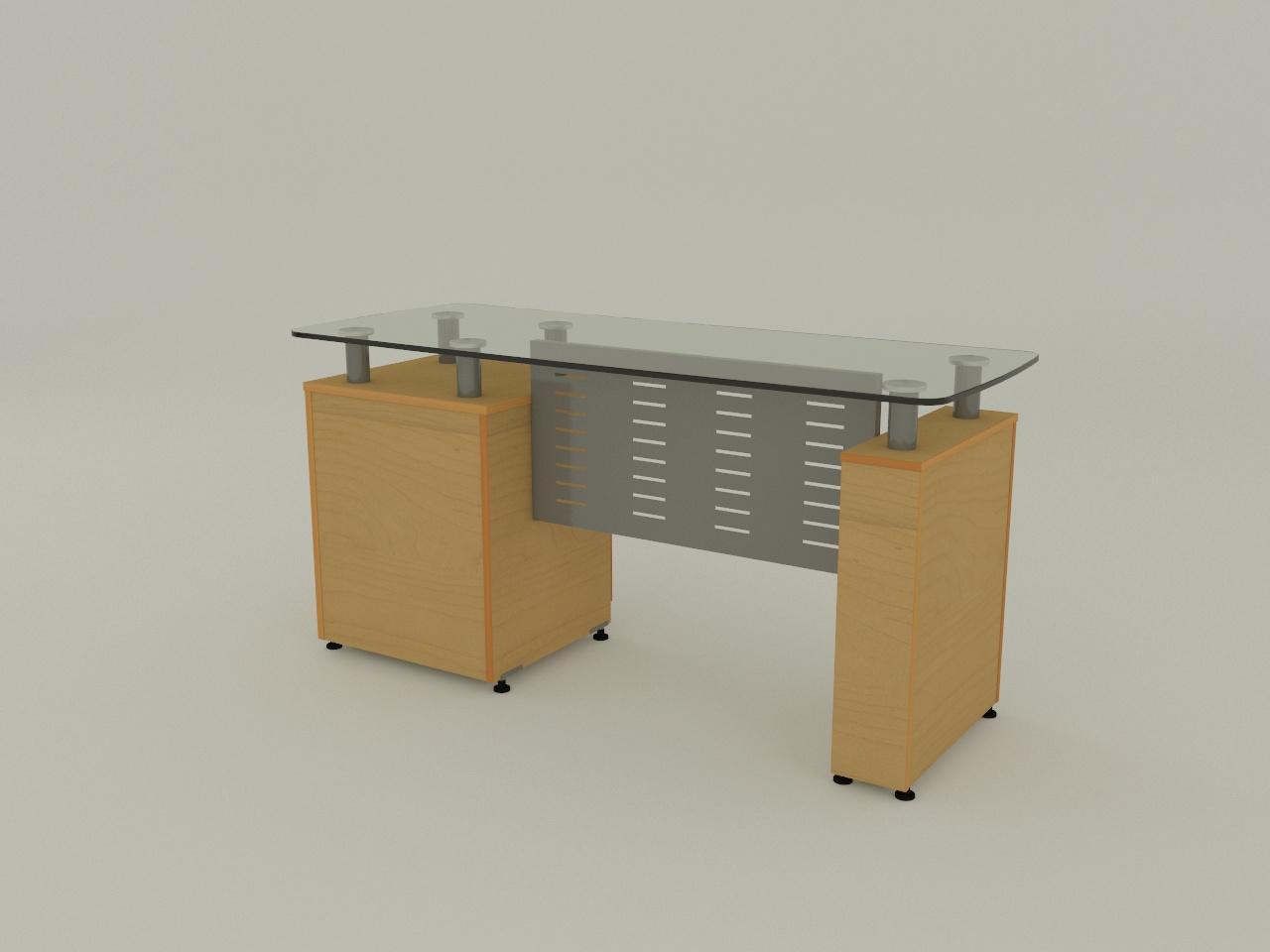 escritorio boston sop 150mm 150 x 60 cm cub cristal 12mm y pedestal