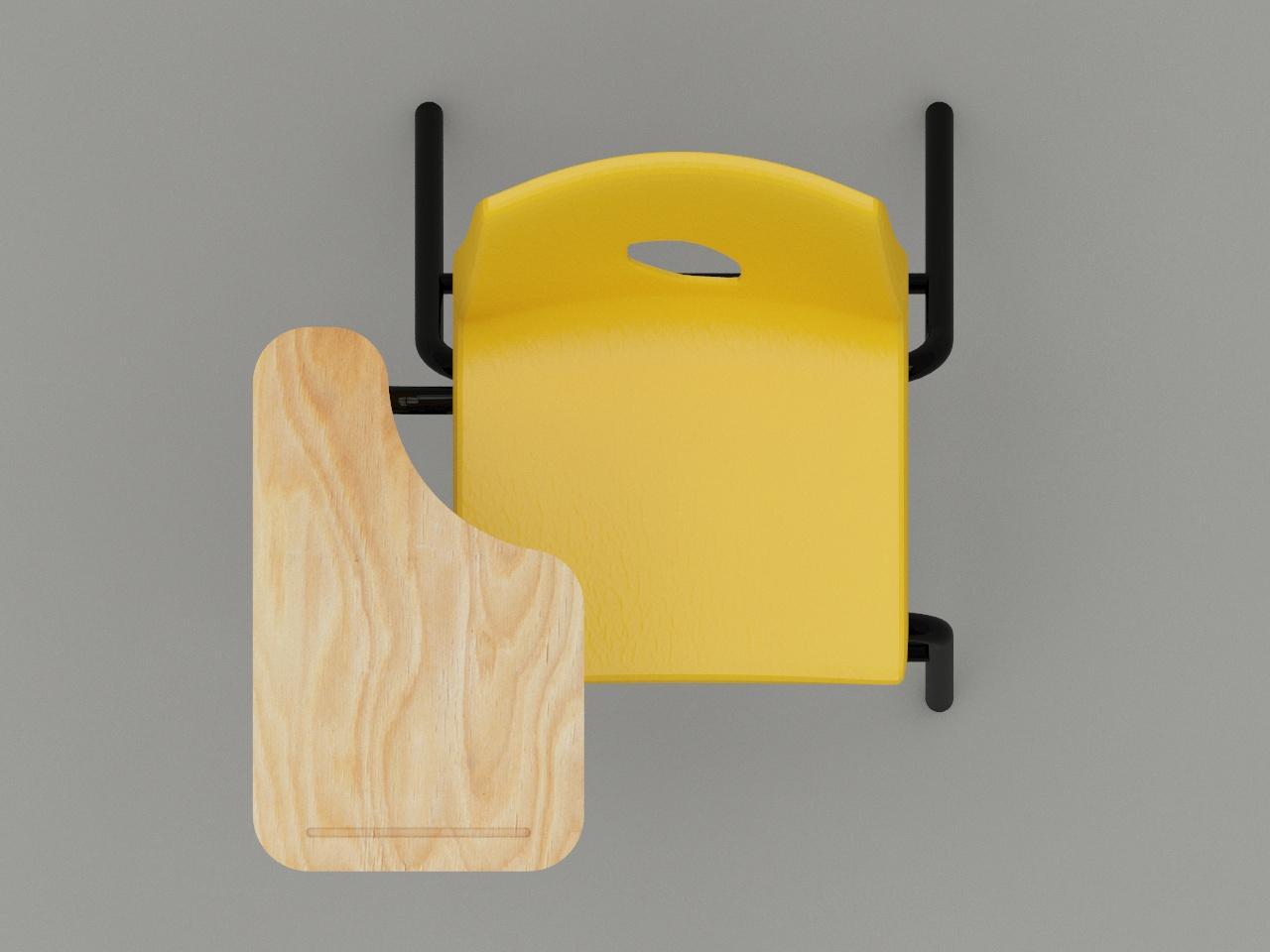 silla de paleta concha plastica color amarilla paleta de triplay