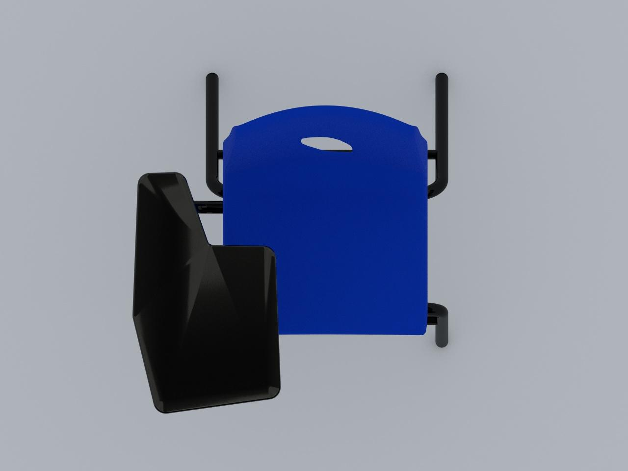 silla de paleta concha plastica color azul paleta plastica negra